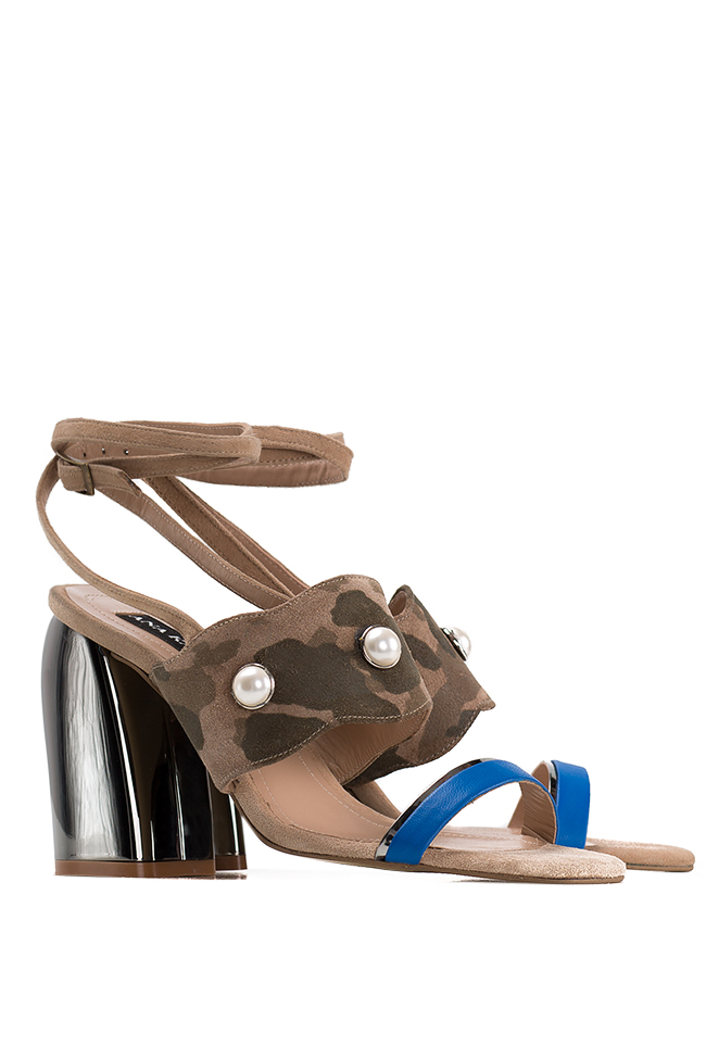 Embellished camouflage-print suede sandals Ana Kaloni image 1