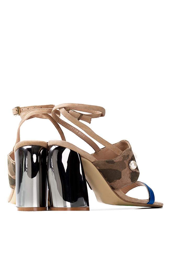 Embellished camouflage-print suede sandals Ana Kaloni image 2