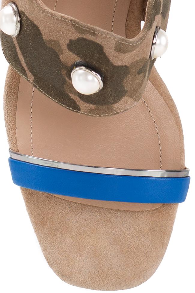Embellished camouflage-print suede sandals Ana Kaloni image 3