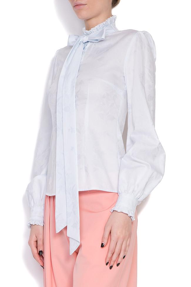 Pussy-bow cotton-blend shirt DALB by Mihaela Dulgheru image 2