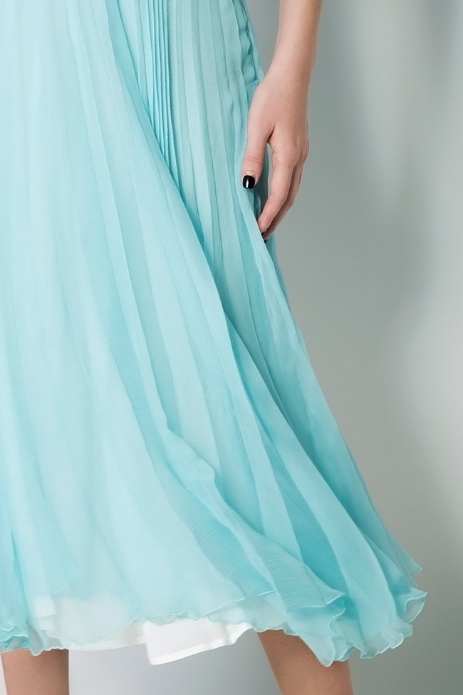 Pleated silk midi dress Dorin Negrau image 3