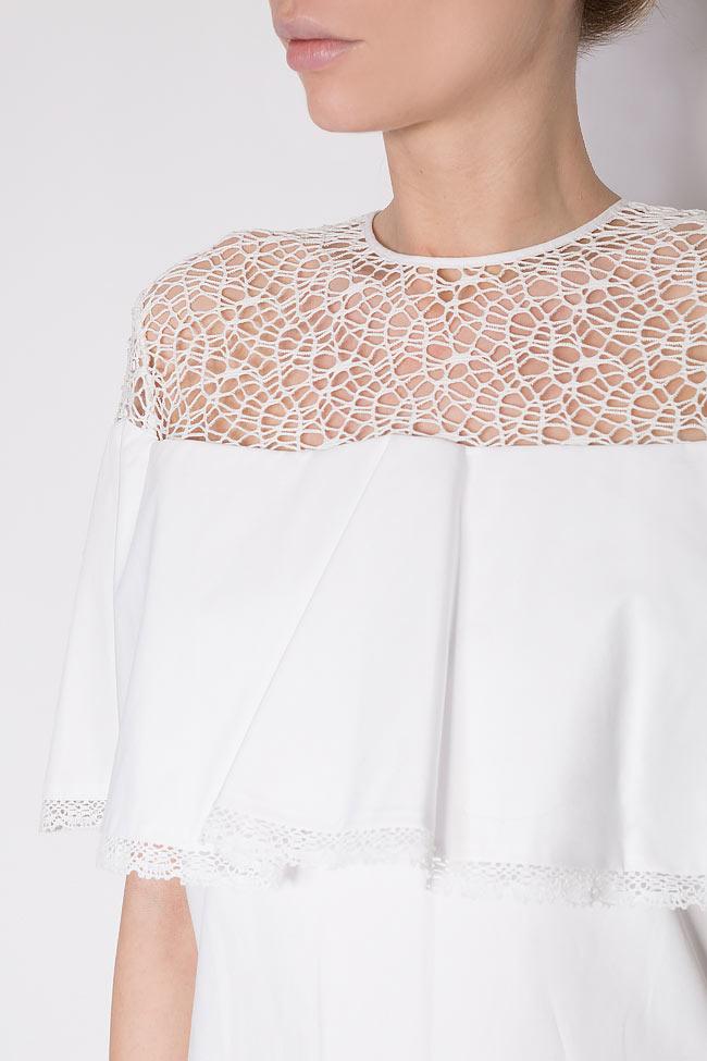 Macramé lace cotton poplin mini dress Dorin Negrau image 3