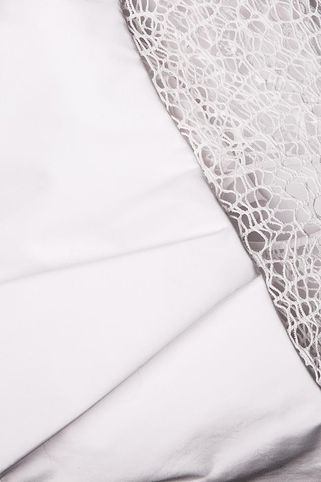 Rochie din bumbac cu insertii din dantela macrame Dorin Negrau imagine 4