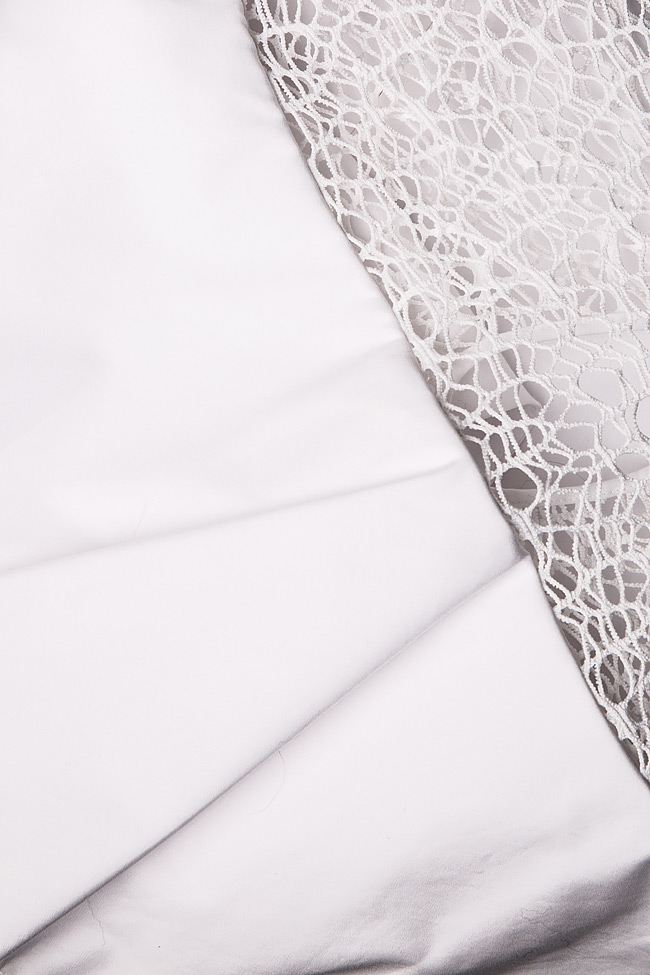Macramé lace cotton poplin mini dress Dorin Negrau image 4