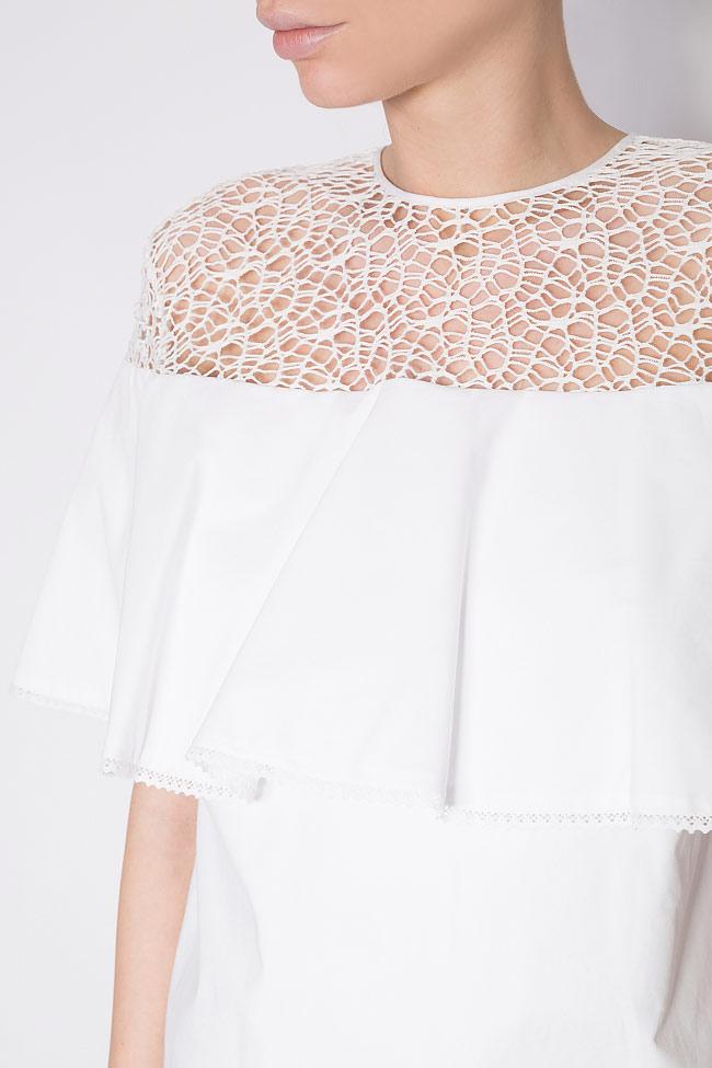 Macramé lace cotton poplin top Dorin Negrau image 3