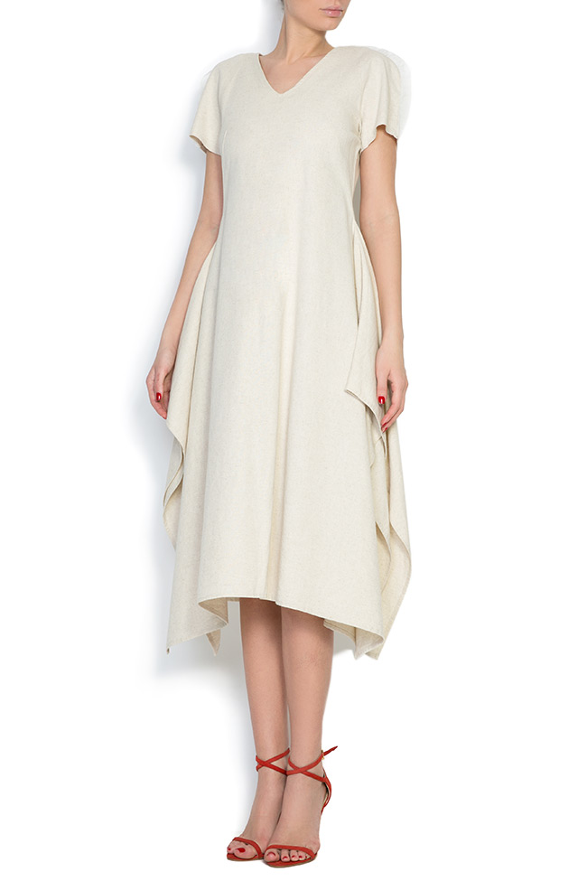 Tulle paneled asymmetric cotton midi dress Nicoleta Obis image 0