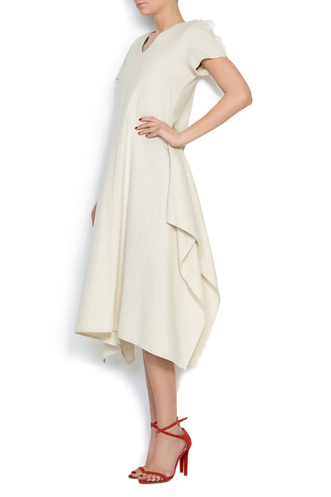 Tulle paneled asymmetric cotton midi dress Nicoleta Obis image 1
