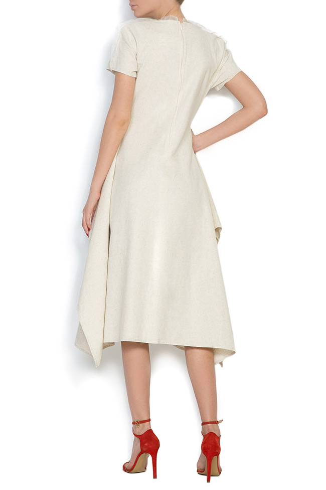 Tulle paneled asymmetric cotton midi dress Nicoleta Obis image 2
