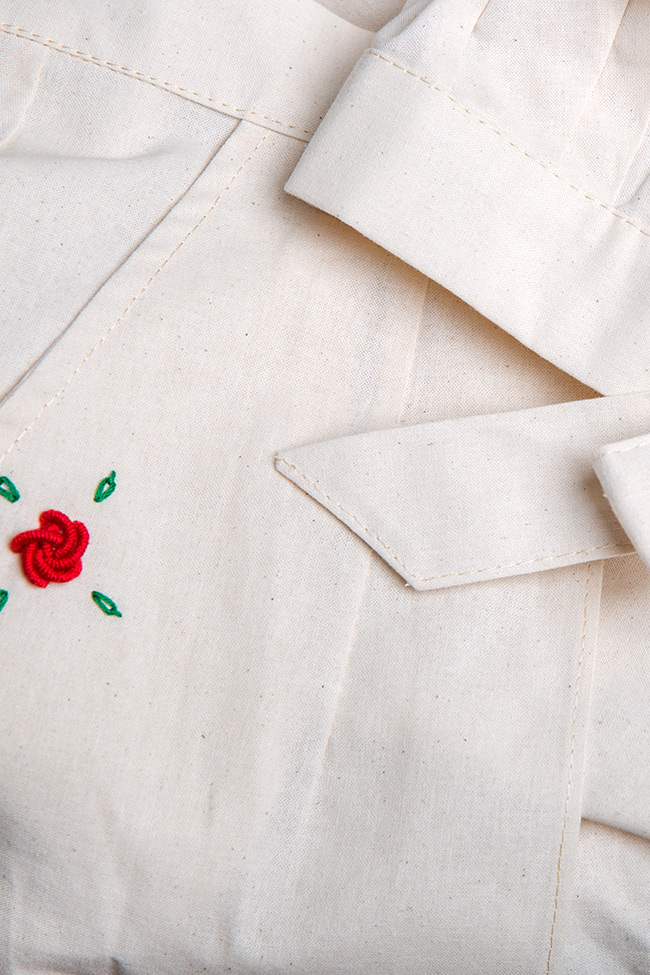 Cold-shoulder embroidered cotton mini dress Nicoleta Obis image 5