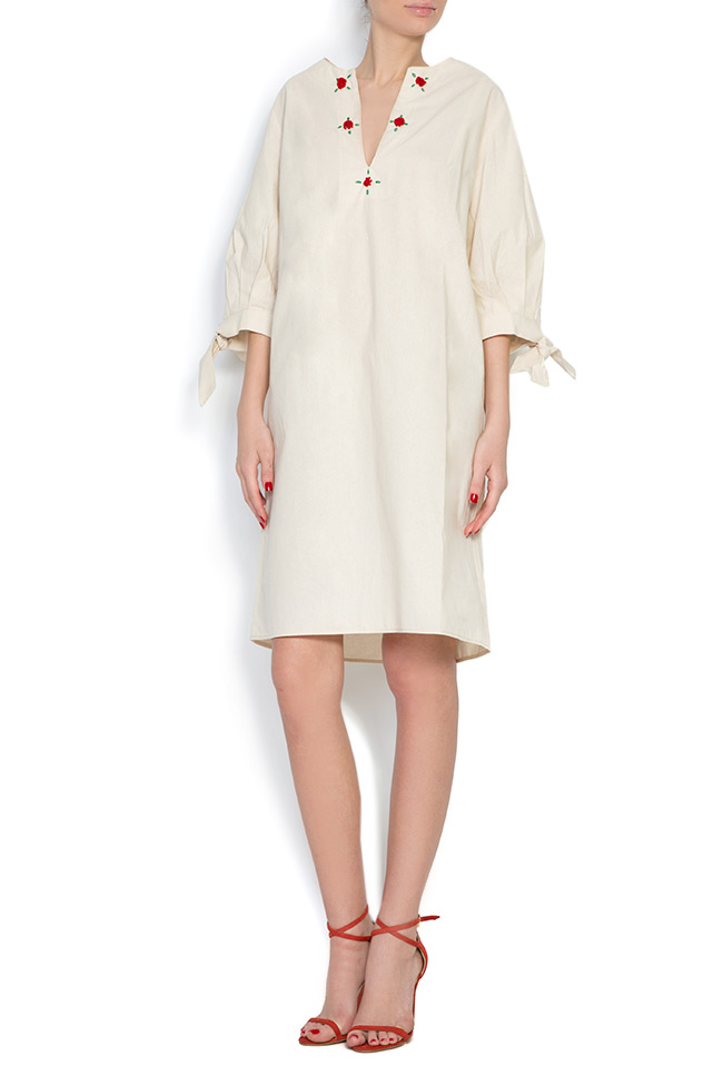 Cold-shoulder embroidered cotton mini dress Nicoleta Obis image 1