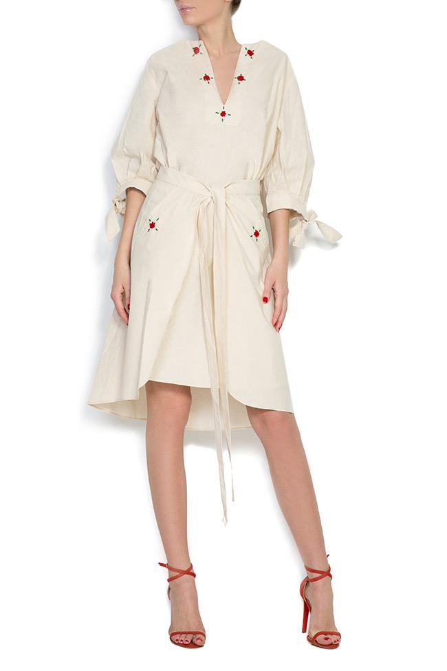 Cold-shoulder embroidered cotton mini dress Nicoleta Obis image 0