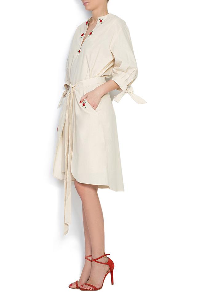 Cold-shoulder embroidered cotton mini dress Nicoleta Obis image 2