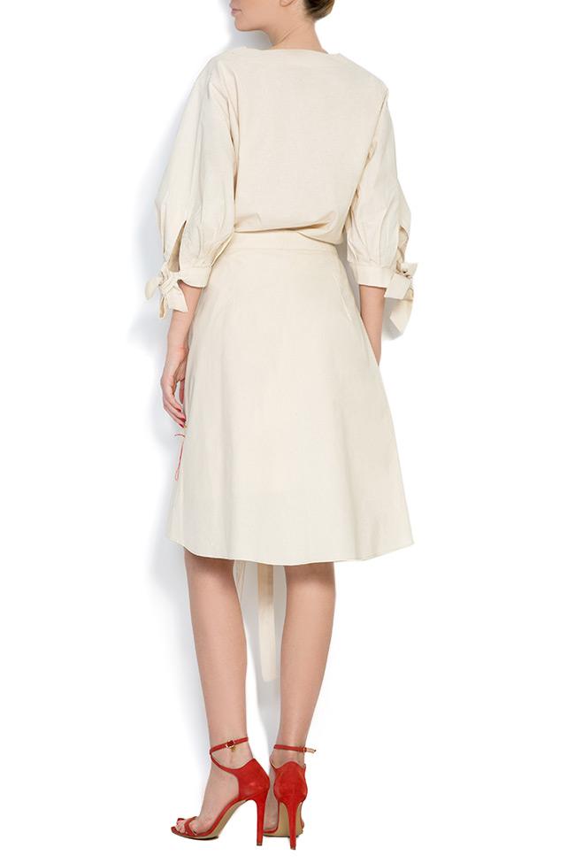 Cold-shoulder embroidered cotton mini dress Nicoleta Obis image 3