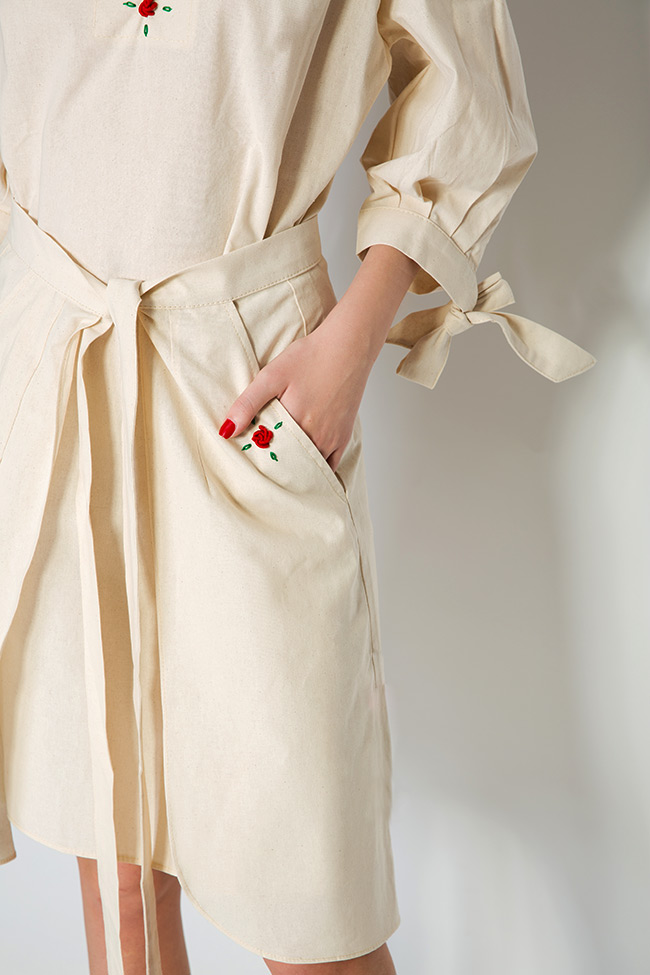Cold-shoulder embroidered cotton mini dress Nicoleta Obis image 4
