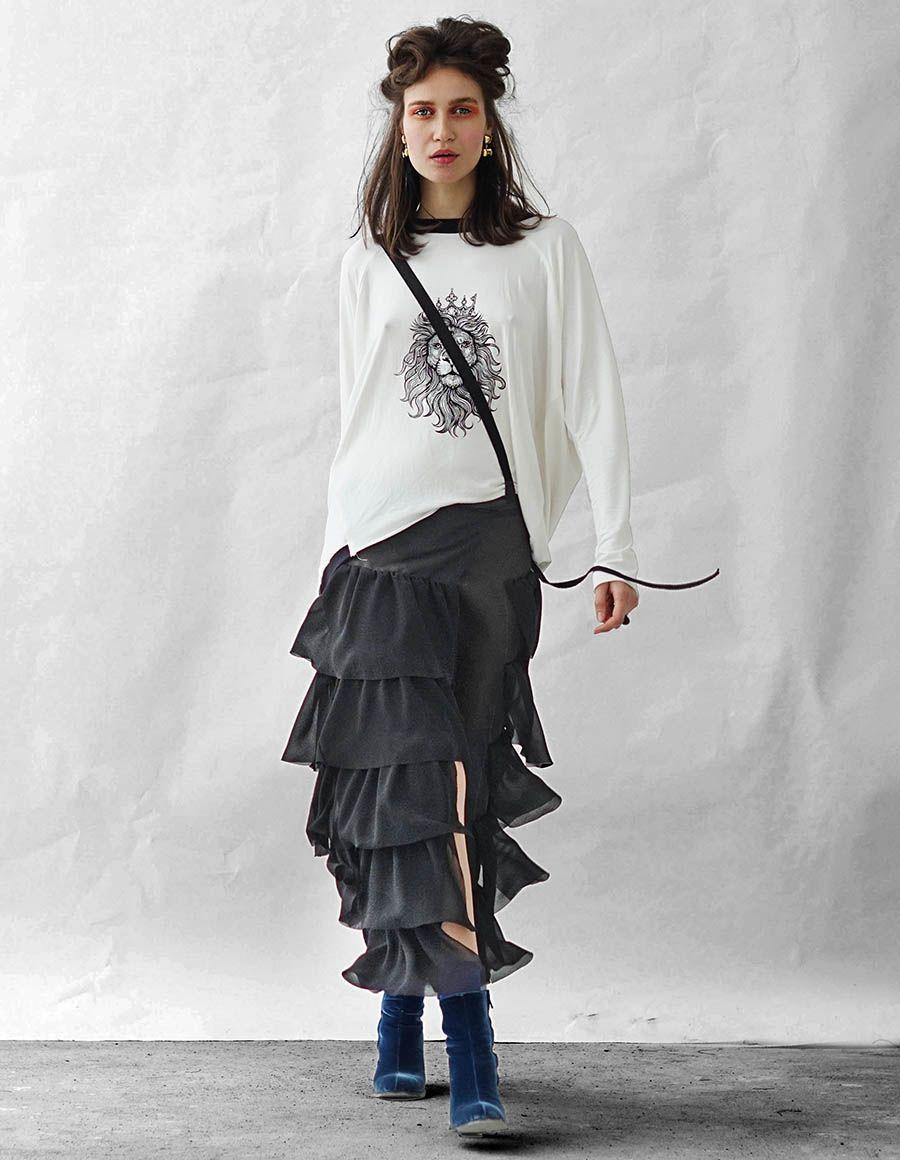 Apron ruffled crepe maxi skirt Studio Cabal image 4