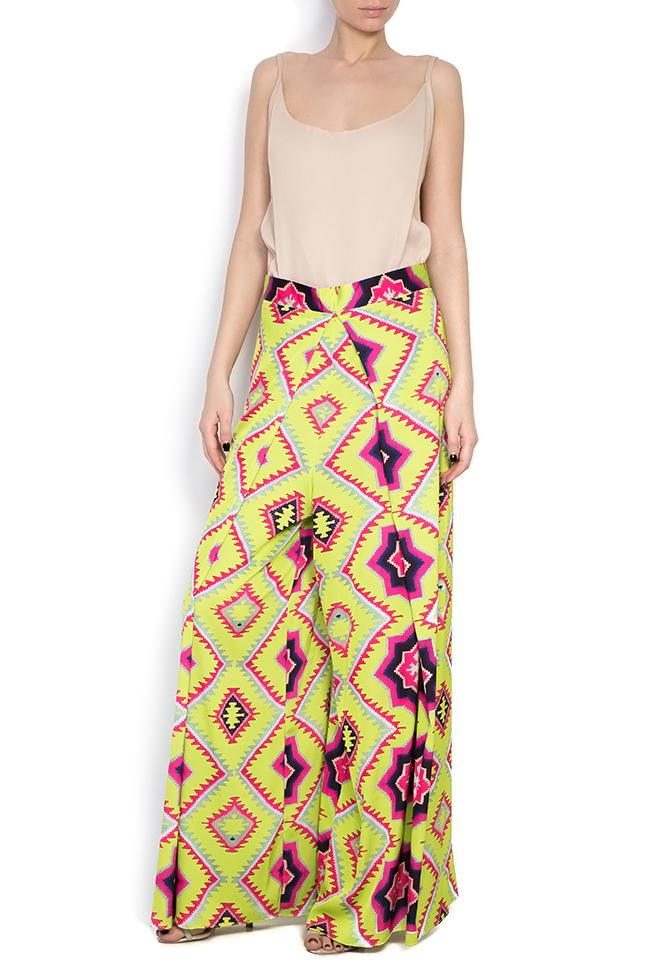 Printed silk crepe wide-leg pants Dorin Negrau image 0