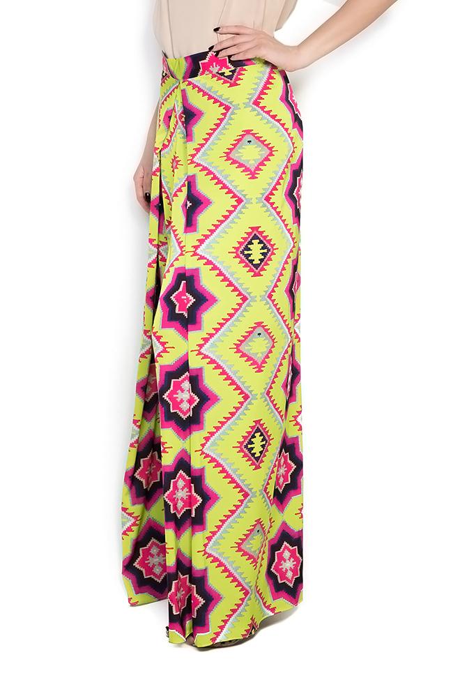 Printed silk crepe wide-leg pants Dorin Negrau image 1