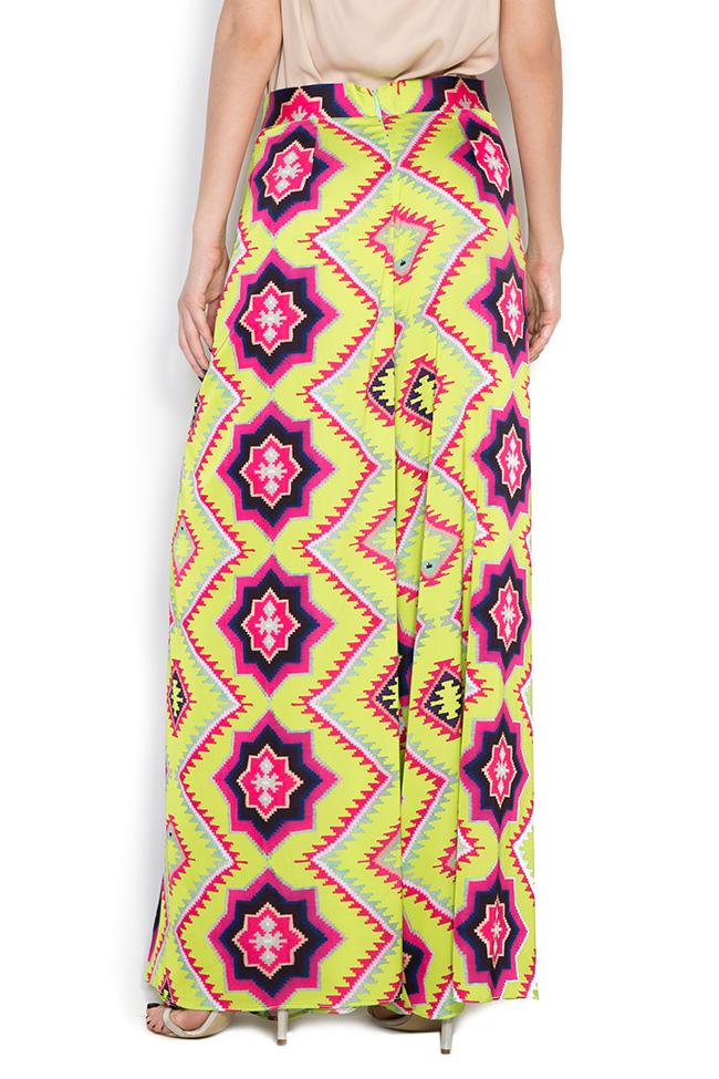 Printed silk crepe wide-leg pants Dorin Negrau image 2