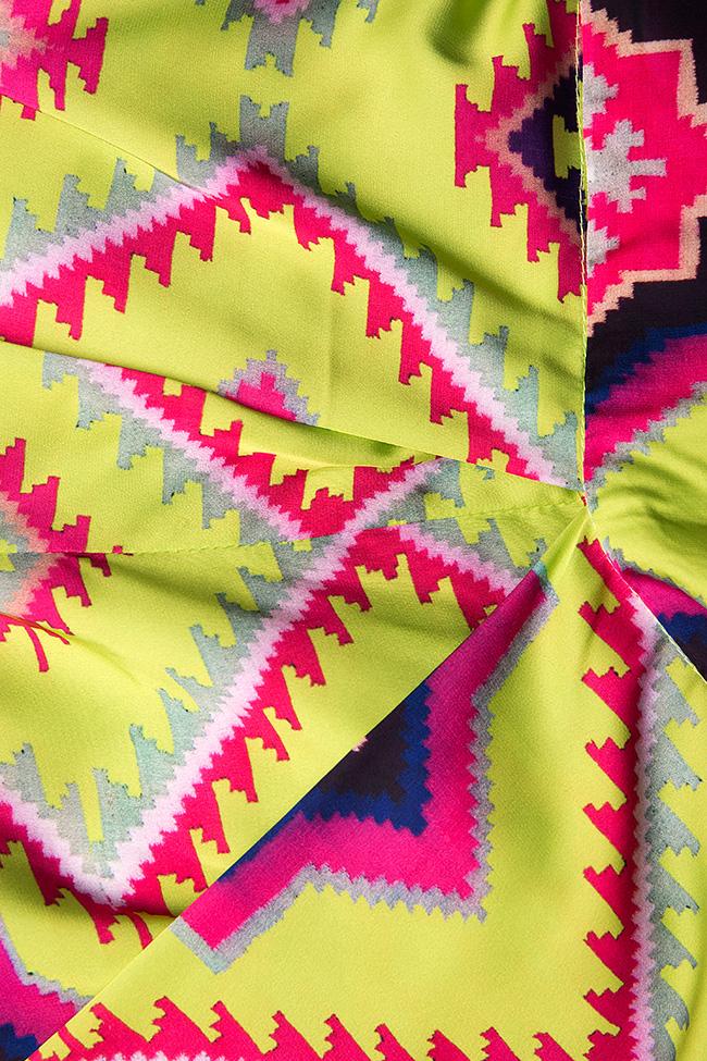Pantaloni din crep de matase cu imprimeu digital Dorin Negrau imagine 4