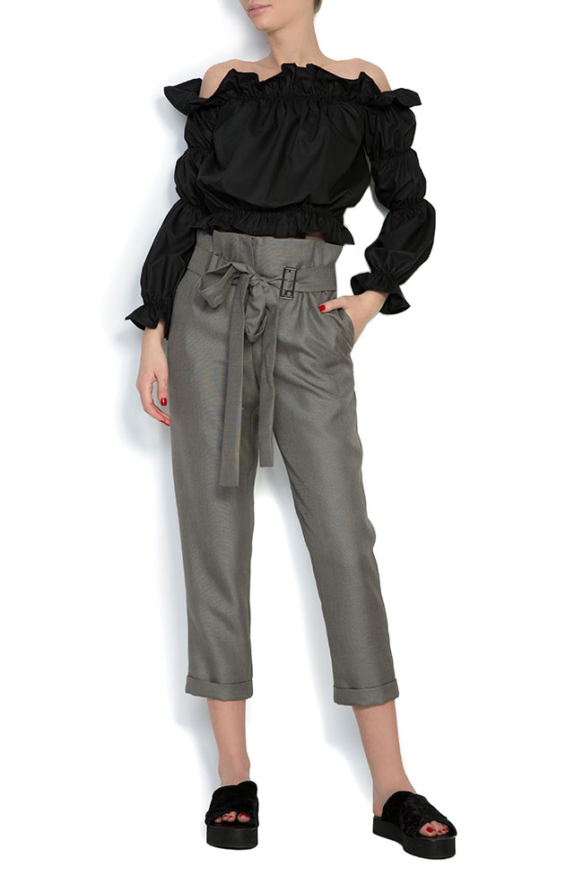 Pantaloni din in cu cordon Cloche imagine 0