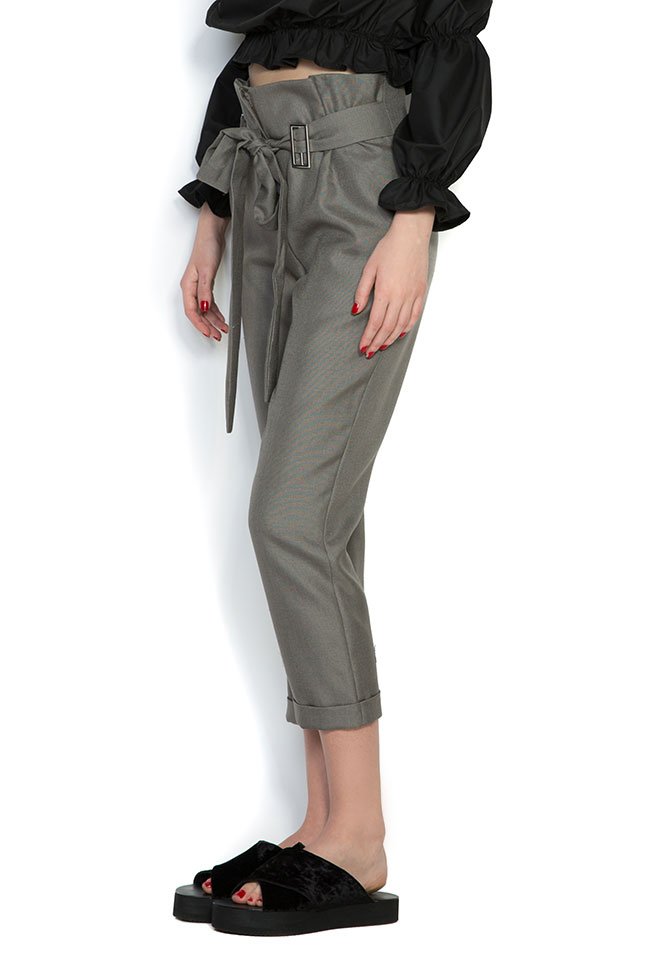 Pantaloni din in cu cordon Cloche imagine 1
