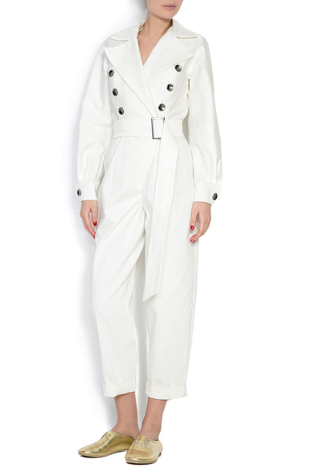 Belted double-breasted cotton jumpsuit Cloche image 0