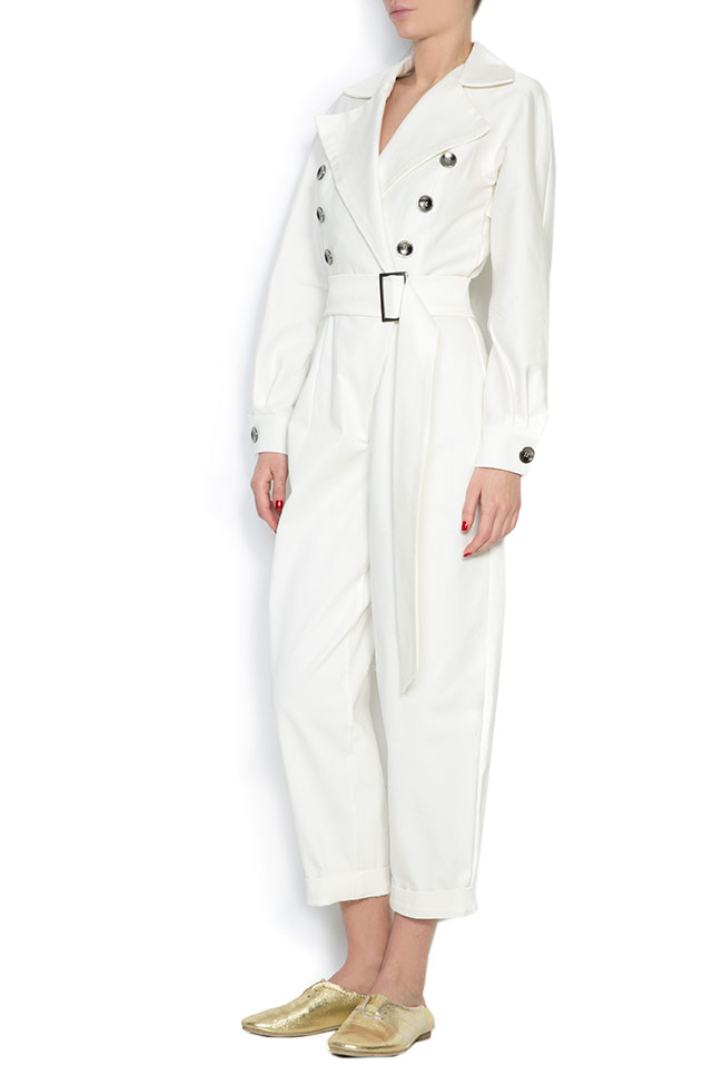 Belted double-breasted cotton jumpsuit Cloche image 1
