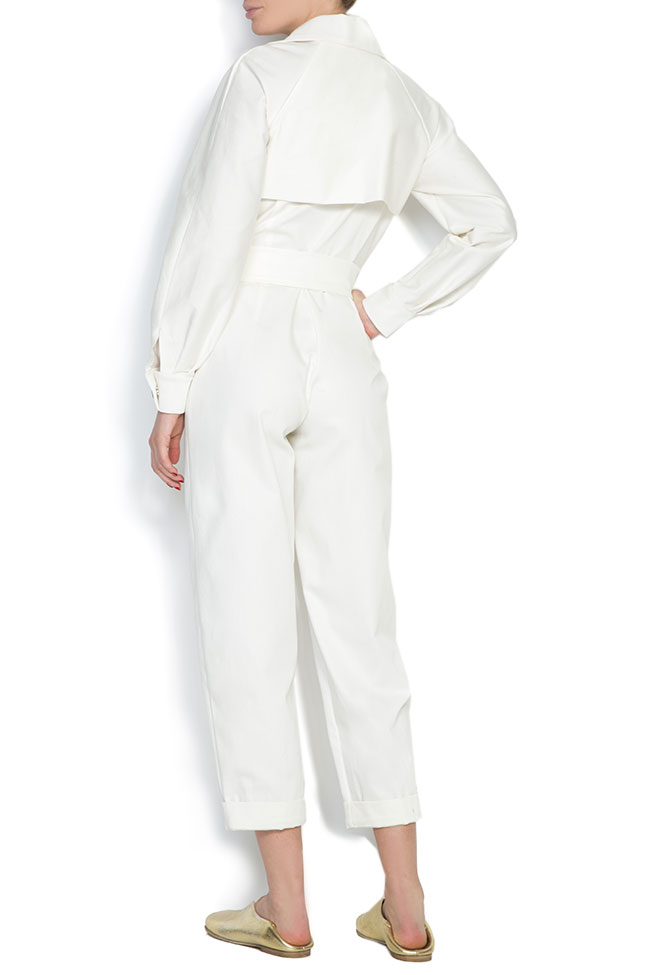 Belted double-breasted cotton jumpsuit Cloche image 2