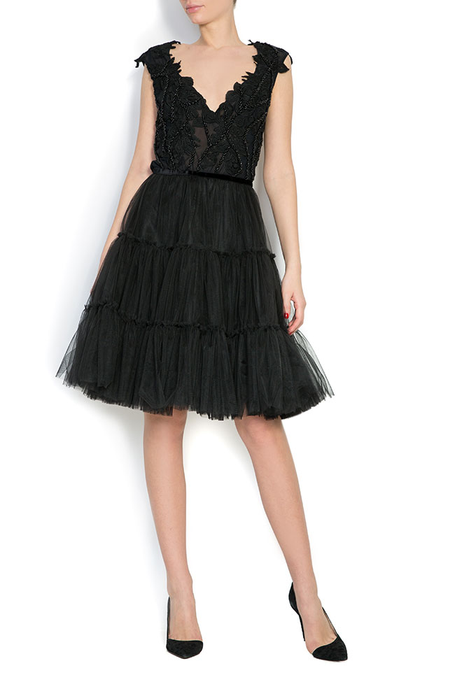 Embroidered silk-lace tulle mini dress Bien Savvy image 0