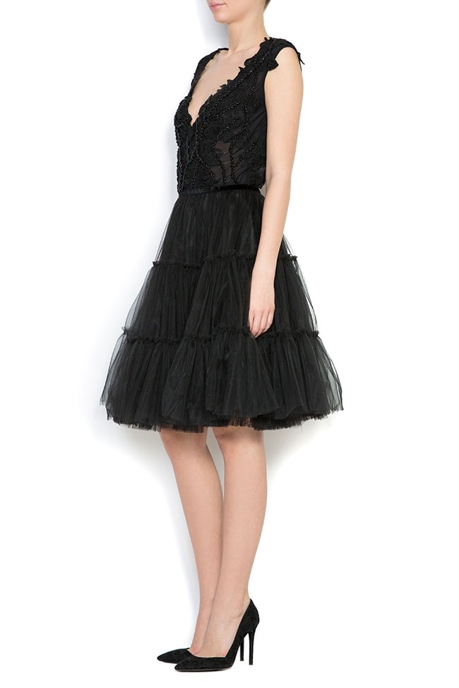 Embroidered silk-lace tulle mini dress Bien Savvy image 1
