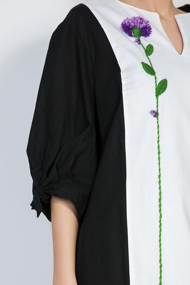 Rochie din panza de bumbac cu plastron brodat Nicoleta Obis imagine 3