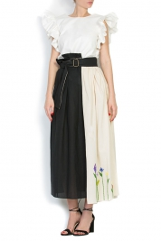 Nicoleta Obis Duo embroidered cotton wrap skirt