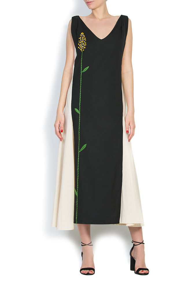 Asymmetric embroidered cotton maxi dress Nicoleta Obis image 0