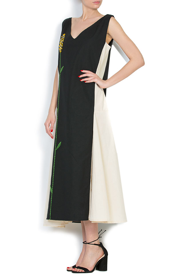 Asymmetric embroidered cotton maxi dress Nicoleta Obis image 1