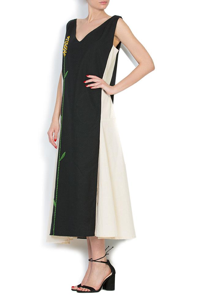 Robe asymétrique en coton, brodée à la main Nicoleta Obis image 1