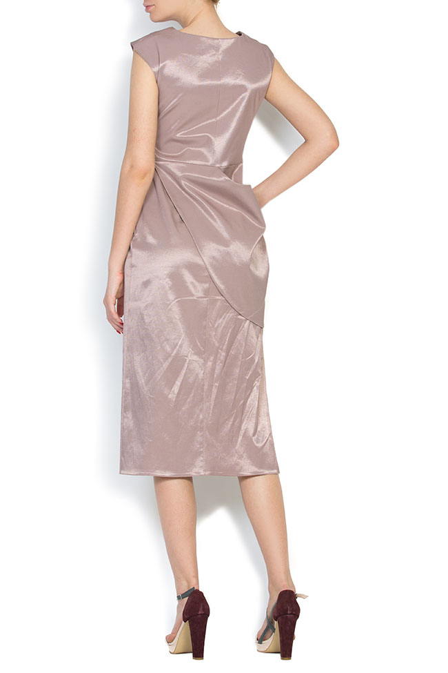 Satin cotton midi dress LRM image 2