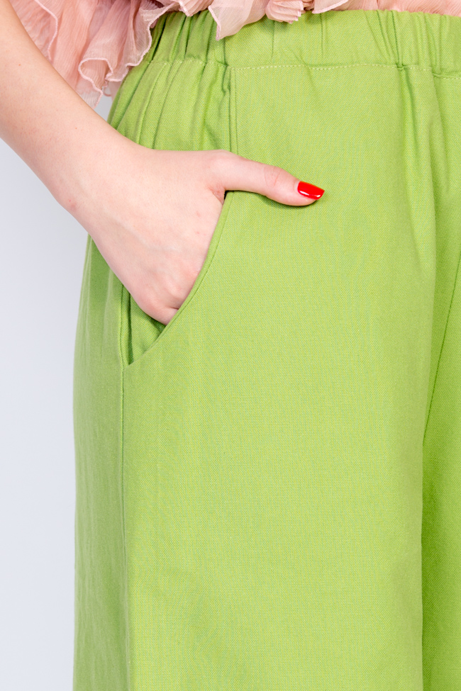 Pantaloni din panza de bumbac Nicoleta Obis imagine 3