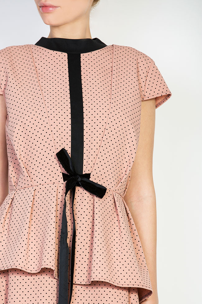 Velvet bow-embellished polka-dot cotton-poplin dress BLUZAT image 3