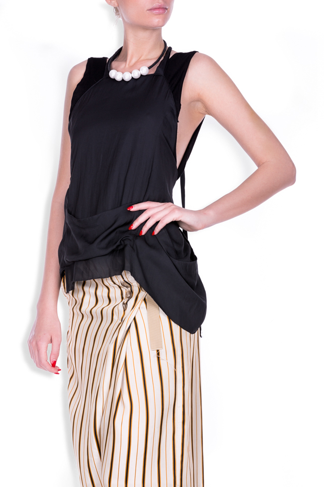 Apron asymmetric cotton-blend top Studio Cabal image 1