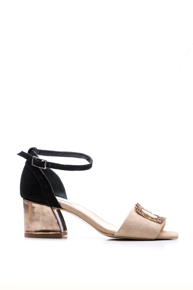 Embellished suede and metallic leather sandals Ana Kaloni image 0