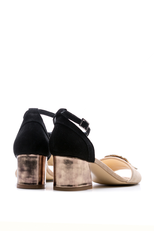 Embellished suede and metallic leather sandals Ana Kaloni image 2