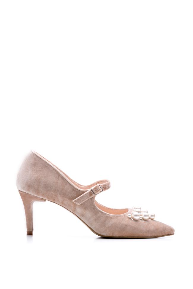 Pantofi din piele si catifea ornati cu perle  Ana Kaloni imagine 0