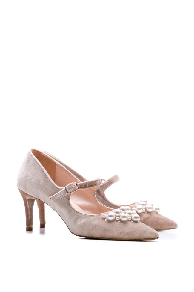 Pantofi din piele si catifea ornati cu perle  Ana Kaloni imagine 1