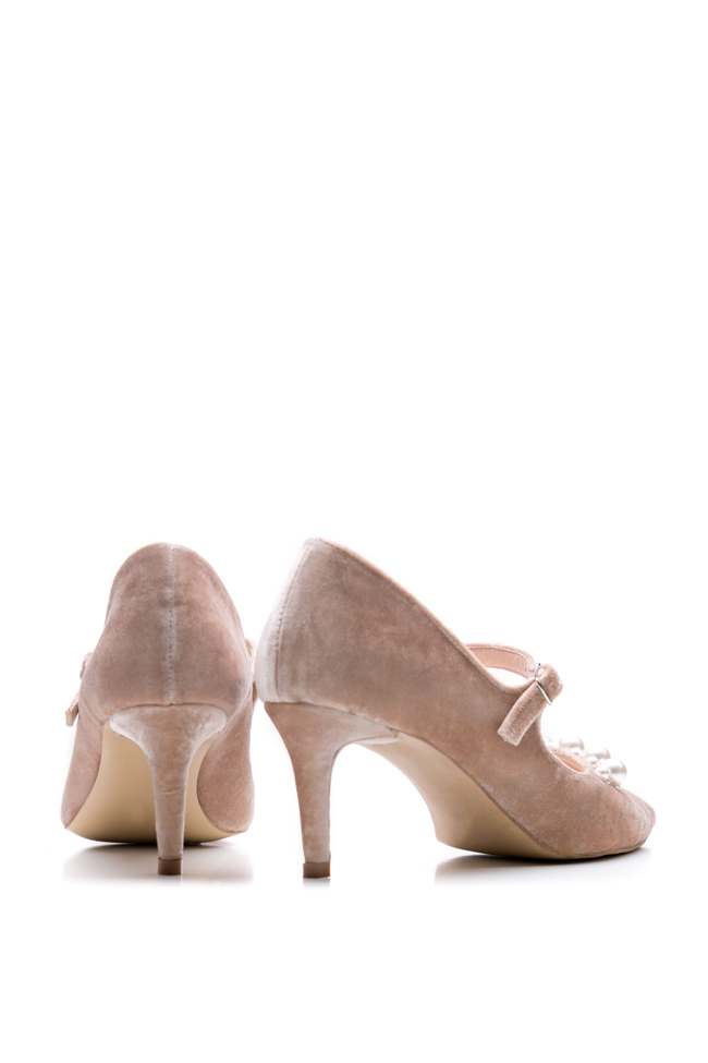 Pantofi din piele si catifea ornati cu perle  Ana Kaloni imagine 2