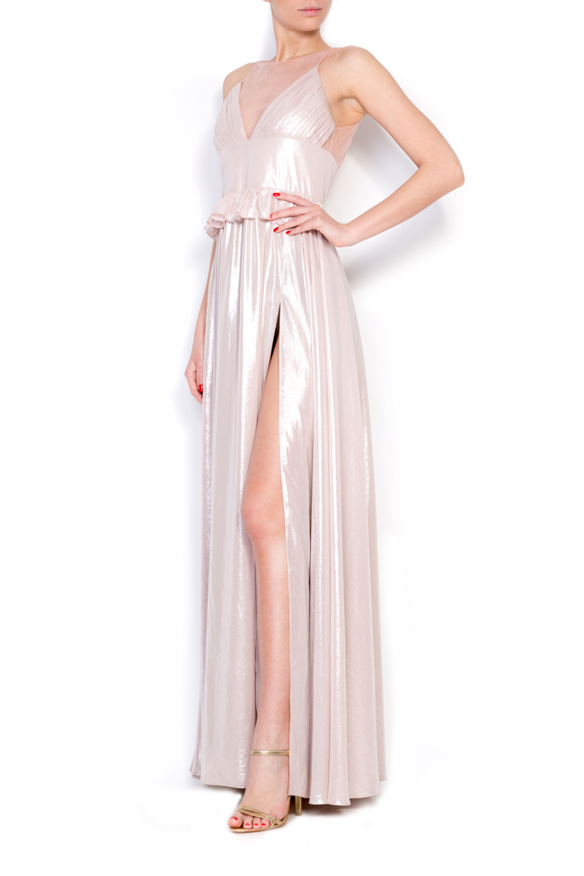 Lynne coated metallic peplum maxi dress Simona Semen image 1