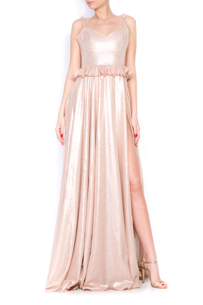 Lucinda coated metallic peplum maxi dress Simona Semen image 0