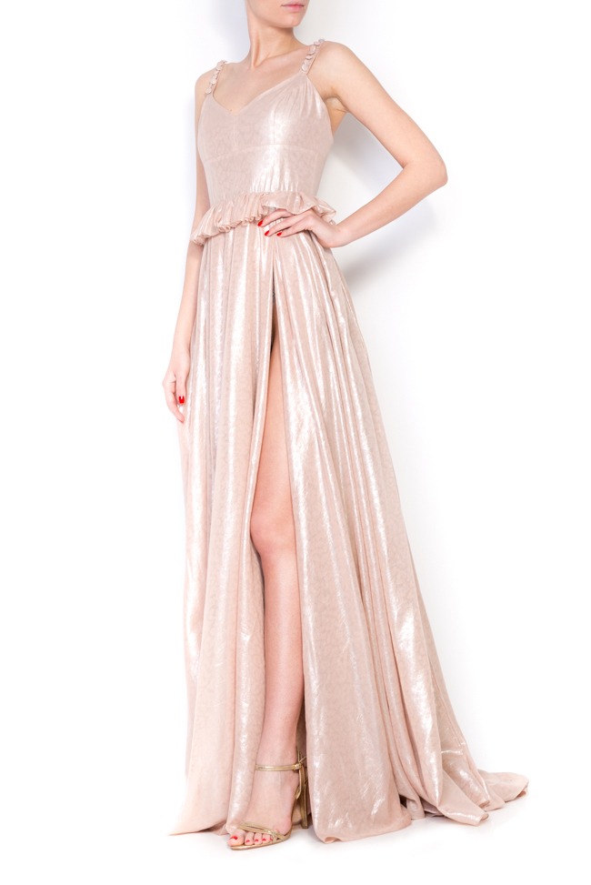 Lucinda coated metallic peplum maxi dress Simona Semen image 1