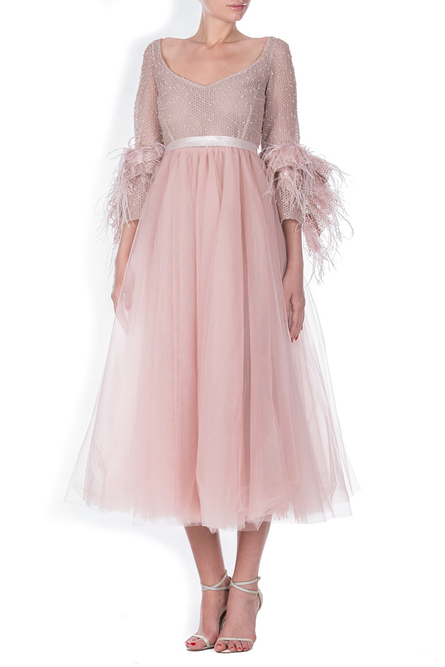 Lyra feather-trimmed tulle cotton organza midi dress Simona Semen image 0