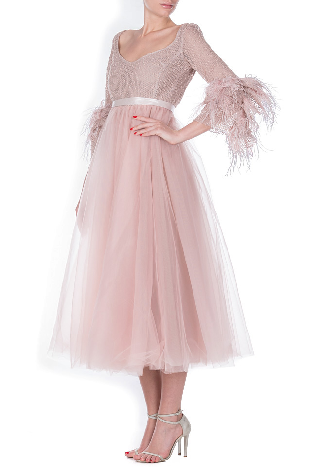 Lyra feather-trimmed tulle cotton organza midi dress Simona Semen image 1