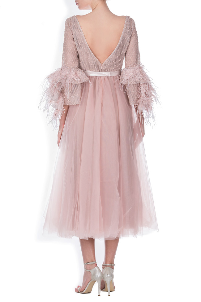 Lyra feather-trimmed tulle cotton organza midi dress Simona Semen image 2